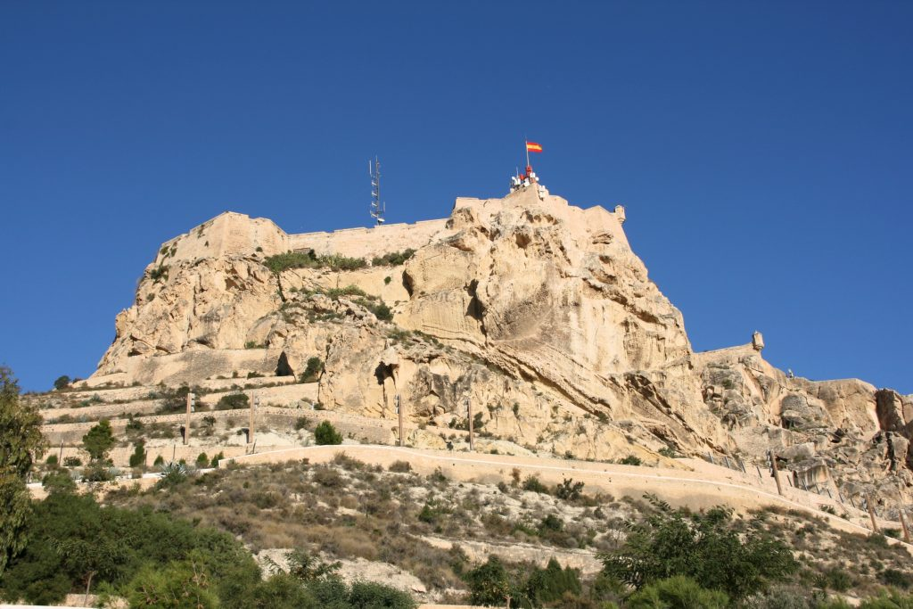 Alicante in Comunidad Valenciana, Spain. Mountain with Saint Barbara Castle.